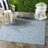 Safavieh Indoor / Outdoor Courtyard Blue / Light Grey Rug - 8' x 11'