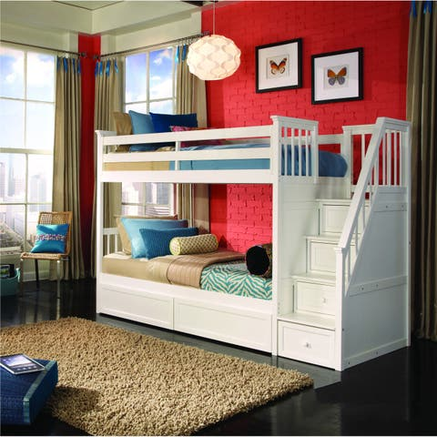 School House White Stair Bunk