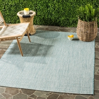 Safavieh Indoor / Outdoor Courtyard Light Blue / Light Grey Rug (7' x 10')