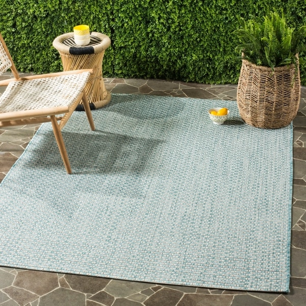 Outdoor Rug 7 X 10: Shop Safavieh Indoor / Outdoor Courtyard Light Blue