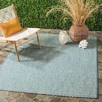 "Safavieh Indoor / Outdoor Courtyard Turquoise / Light Grey Rug - 6'7"" x 9'6"""