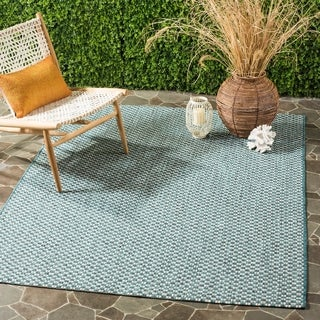 Safavieh Indoor / Outdoor Courtyard Turquoise / Light Grey Rug (9' x 12')