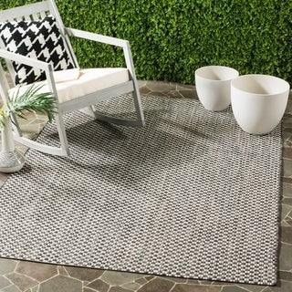 Safavieh Indoor / Outdoor Courtyard Black / Light Grey Rug (9' x 12')