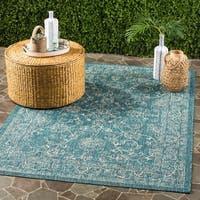 """Safavieh Courtyard Aquata Scroll Indoor/ Outdoor Turquoise Rug - 6'7"""" x 9'6"""""""