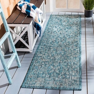 Safavieh Indoor / Outdoor Courtyard Turquoise Rug (8' x 11')