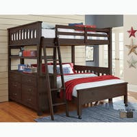 NE Kids Highlands Collection Espresso Wood Full-size Loft Bed with Full-size Lower Bed