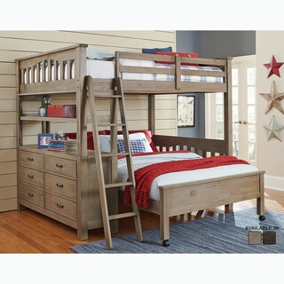 Highlands Collection Driftwood Full Loft Bed with Full Lower Bed