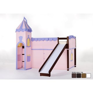 NE Kids School House Loft Bed with Slide and Princess Tent