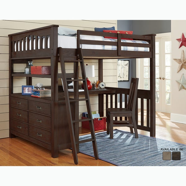 Bon Highlands Collection Espresso Full Loft Bed With Desk