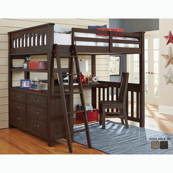 Shop Highlands Collection Espresso Full Loft Bed With Desk