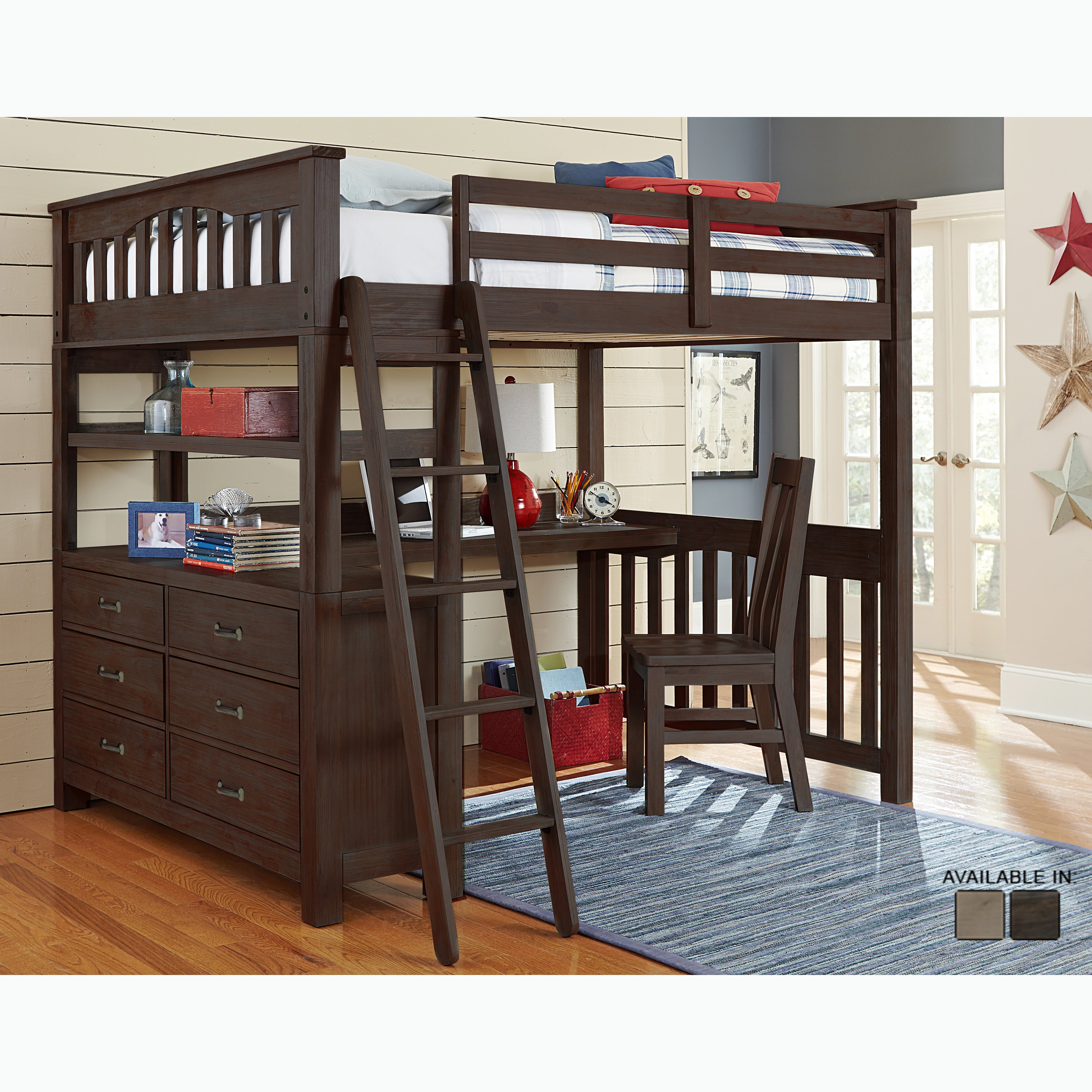NE Kids Highlands Collection Espresso Full Loft Bed With ...