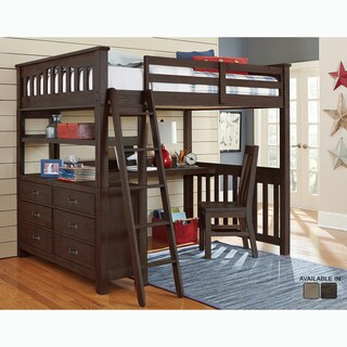 Highlands Collection Espresso Full Loft Bed With Desk