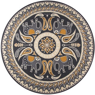 Momeni Veranda Gold Lucky Elephant Indoor/Outdoor Rug (9' X 9' Round)