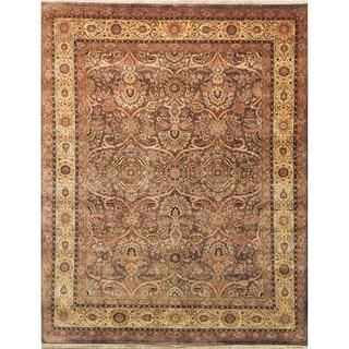 Safavieh Hand-knotted Ganges River Dark Brown / Gold Wool Rug (9' x 12')