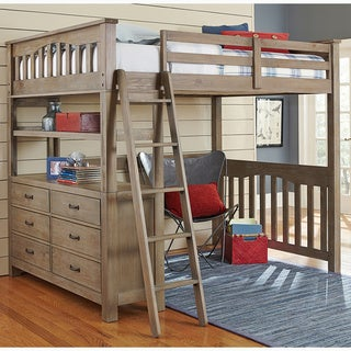 NE Kids Highlands Collection Pine Driftwood Full Loft Bed