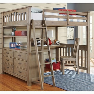 NE Kids Highlands Collection Pine Driftwood Full Loft Bed