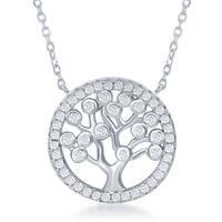 La Preciosa Sterling Silver Cubic Zirconia Tree of Life Circle Necklace
