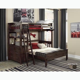 Highlands Collection Espresso Wood Twin Loft Bed with Full Lower Bed