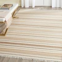 Safavieh Hand-Woven Kilim Flatweave Beige Wool / Cotton Rug - 8' x 10'