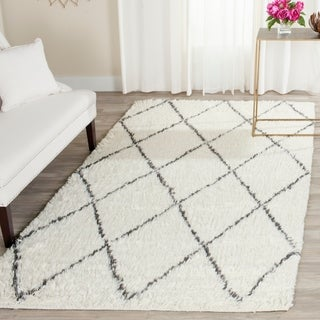 Safavieh Handmade Kenya Ivory / Grey Wool / Cotton Rug (8' x 10')