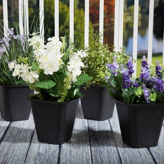 Set of 4 Pure Garden Plastic Flower Pots - 6 x 6 Inch Black - 6 x 6