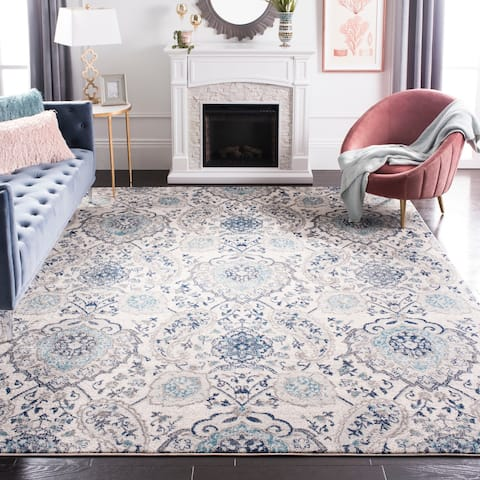 "Safavieh Madison Belle Paisley Boho Glam Cream/ Light Grey Rug - 6'7"" x 9'2"""