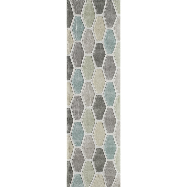 Momeni Bliss Multicolor Stiles Hexagon Hand-Tufted Runner Rug (2'3 X 8')