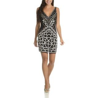 Lotus Threads Women's Angelina Blue/Black/Orange Polyester and Nylon Shift Dress