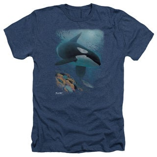 Wildlife/Salmon Hunter Orca Adult Heather T-Shirt in Navy
