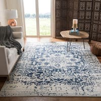 Safavieh Madison Vintage Medallion Cream/ Navy Distressed Rug - 8' x 10'