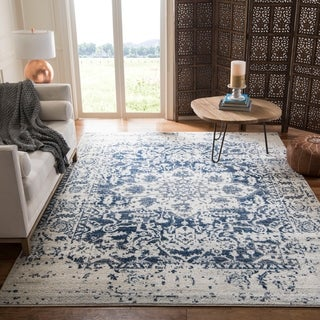 Safavieh Madison Vintage Medallion Cream/ Navy Distressed Rug (8' x 10')