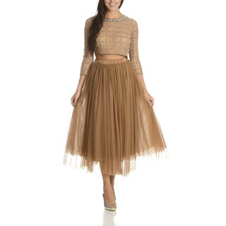 Lotus Threads Women's Tan Embellished Top and Skirt Set