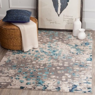 "Safavieh Monaco Abstract Watercolor Grey / Light Blue Distressed Rug - 6'-7"" X 9'-2"""