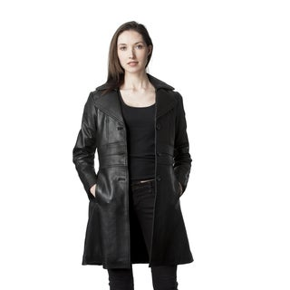 Mason & Cooper Women's Black Leather Trench Jacket