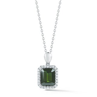 14k White Gold Emerald-cut Green Tourmaline and 1/3ct TDW Diamond Necklace (H-I,VS1-VS2)