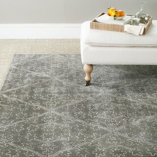 Martha Stewart by Safavieh Strolling Rock Garden/ Grey Wool/ Viscose Rug (8' x 10')