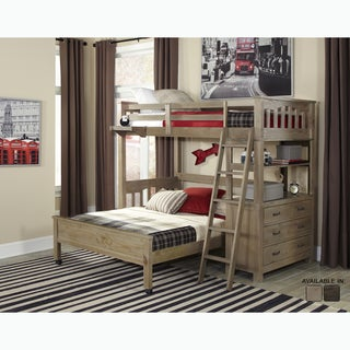 NE Kids Highlands Collection Grey Driftwood Finish Loft Bed Set