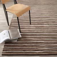 Martha Stewart by Safavieh Hand Drawn Stripe Tilled Soil Brown Wool/ Viscose Rug - 10' x 14'