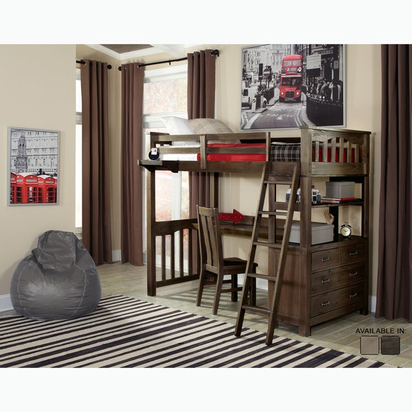 shop ne kids highlands collection espresso twin size loft bed with desk free shipping today. Black Bedroom Furniture Sets. Home Design Ideas