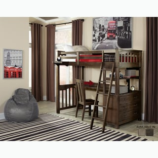 NE Kids Highlands Collection Espresso Twin-size Loft Bed with Desk