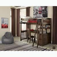 NE Kids Highlands Collection Espresso Twin-size Loft Bed with Desk