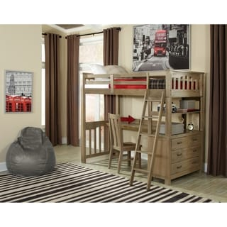 NE Kids Highlands Collection Grey Pine/Wood Twin Loft Bed with Desk