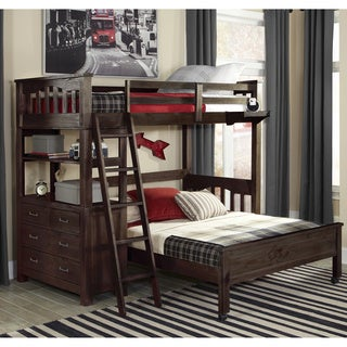 NE Kids Highlands Collection Espresso Twin Loft Bed