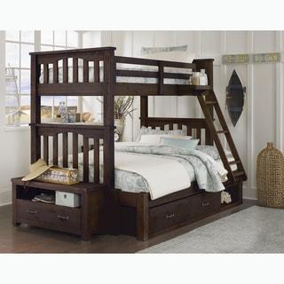 NE Kids Highlands Collection Espresso Wood Twin-over-Full Harper Bunk Bed