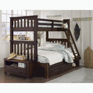 NE Kids Highlands Collection Espresso Wood Twin-over-Full Harper Bunk Bed