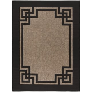 Martha Stewart by Safavieh Deco Frame Dark Beige/ Black Rug (8' x 11')