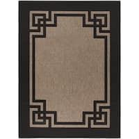 Martha Stewart by Safavieh Deco Frame Dark Beige/ Black Rug - 8' x 11'