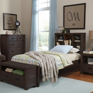 NE Kids Highlands Collection Espresso Finish Wood Twin Bed and Bookcase Set