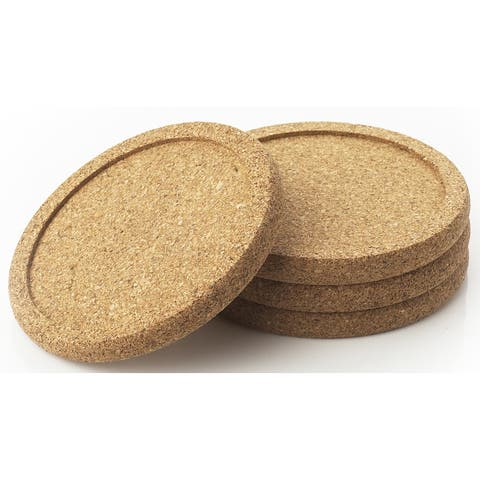 "Natural Home Products WP17 3-3/4"" Cork Coaster Set 4-count"