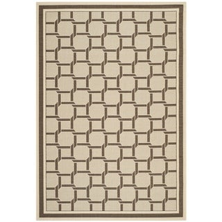Martha Stewart by Safavieh Resort Weave Cream/ Chocolate Indoor/ Outdoor Rug (7' x 10')